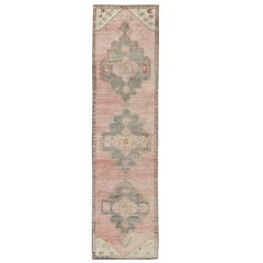 Coral and Pink Turkish Oushak Runner