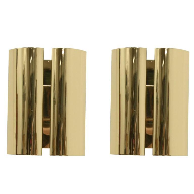 Pair of Scandinavian Wall Lights in Brass by Falkenbergs, 1980s