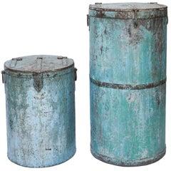 Two Large Vintage Metal Barrels