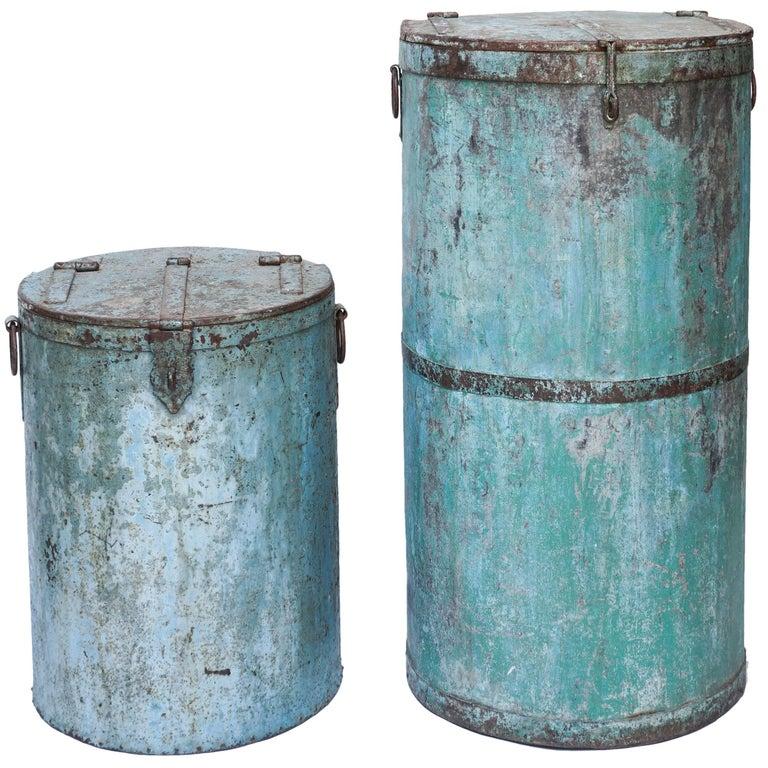 Two Large Vintage Metal Barrels For Sale
