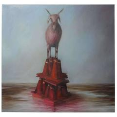 """Red Goat Rising,"" Oil on Canvas by Joe Concra"