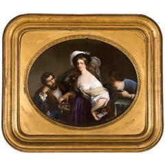 Painting on Porcelain with a Gilt Frame by C. Pastier, the Young Courtisane
