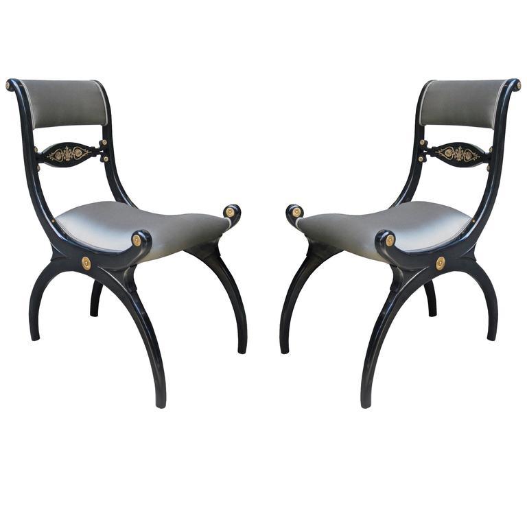 Fine Pair of Regency Ebonized Side Chairs
