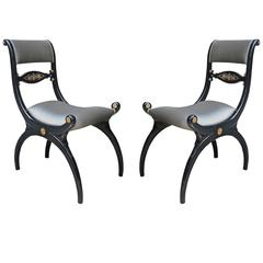 Fine Pair of Regency Ebonized Side Chairs