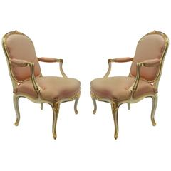 Fine Pair of Louis XV First Revival Armchairs