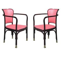 Pair of Gustav Siegel Secession Armchairs