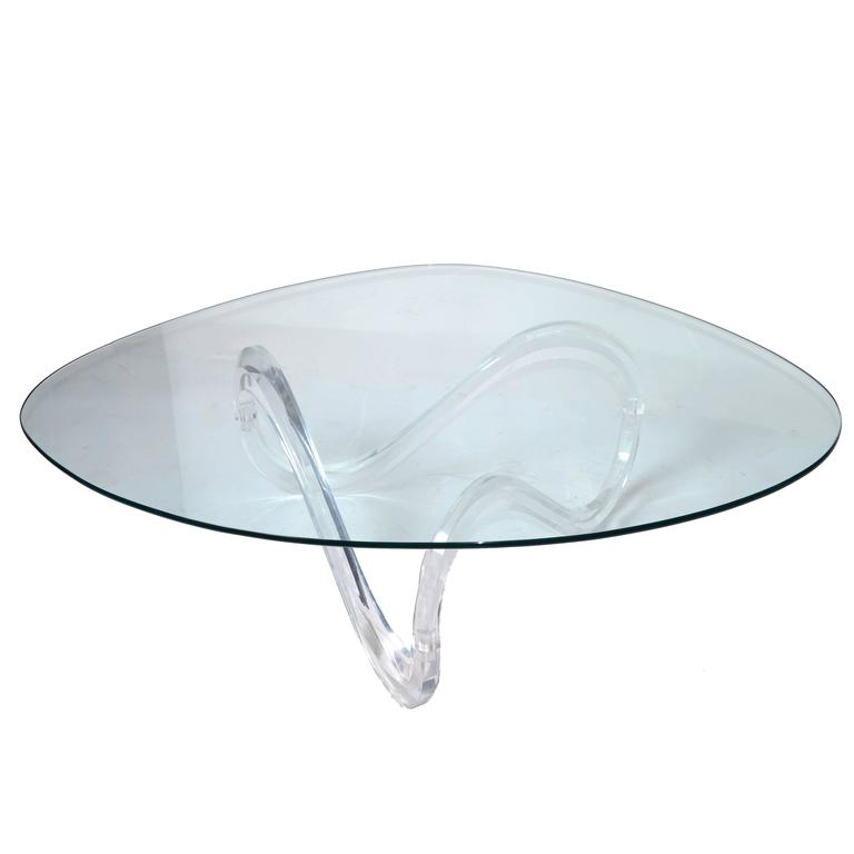 Mid Century Modern Charles Hollis Jones Lucite Small: Mid-Century Modern Lucite Ribbon Coffee Table In The