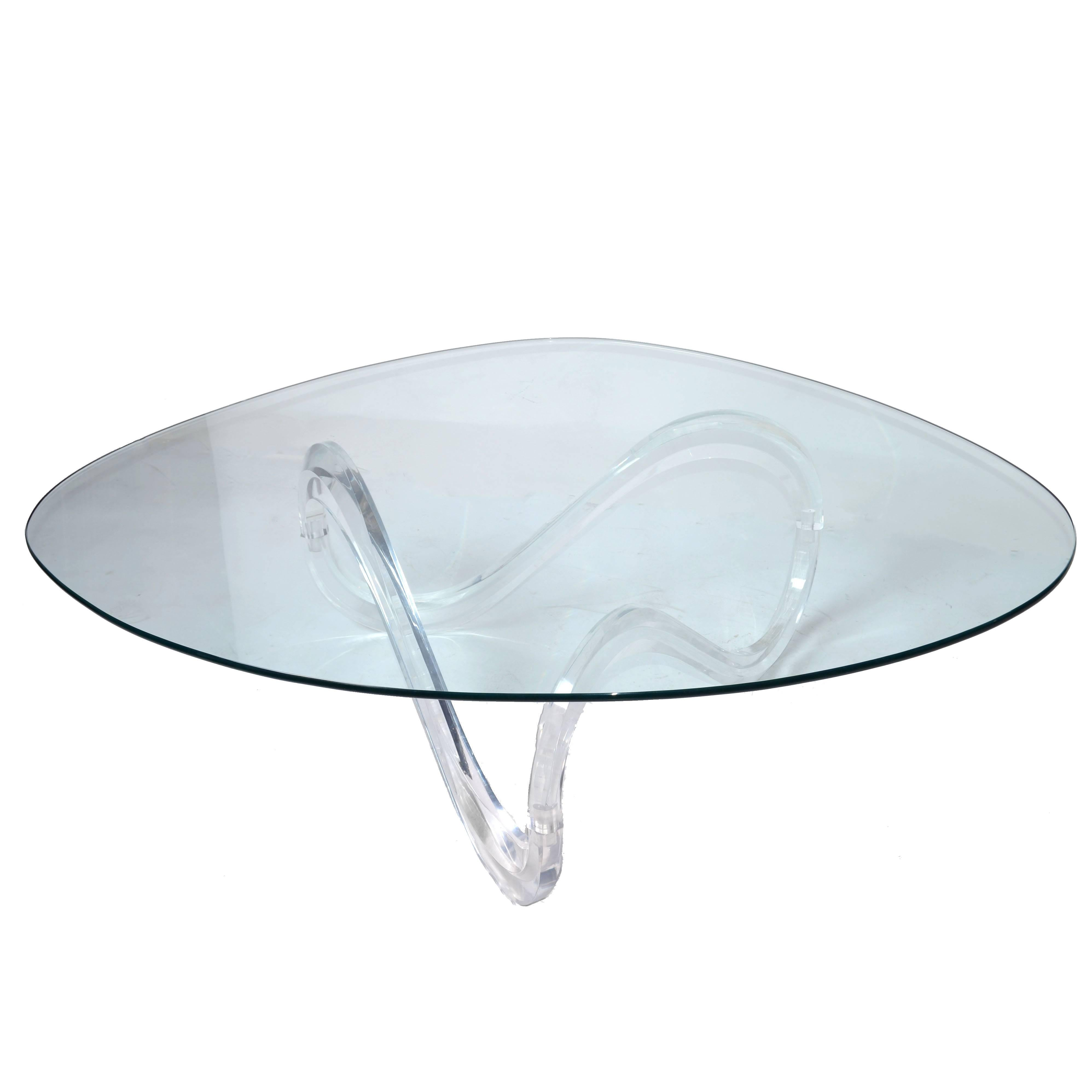 Mid Century Modern Lucite Ribbon Coffee Table In The Manner Charles