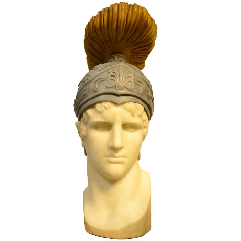 Italian Carved Multicolor Marble Bust of a Roman Warrior