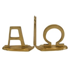 Pair of Alpha and Omega Brass Bookends