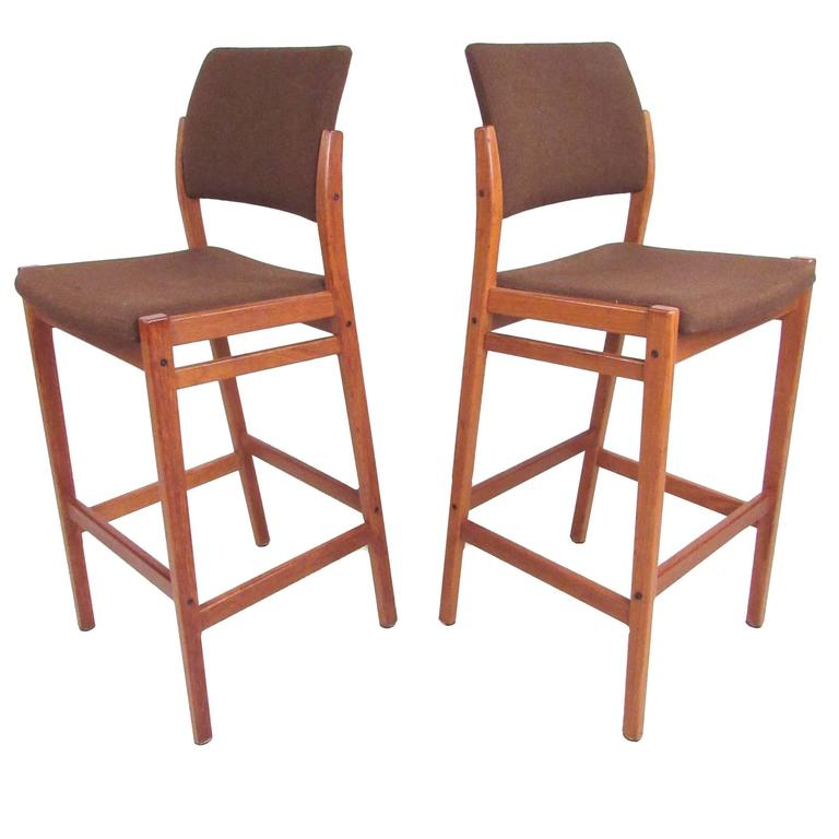 Danish Teak Sculpted Seat Barstools At 1stdibs