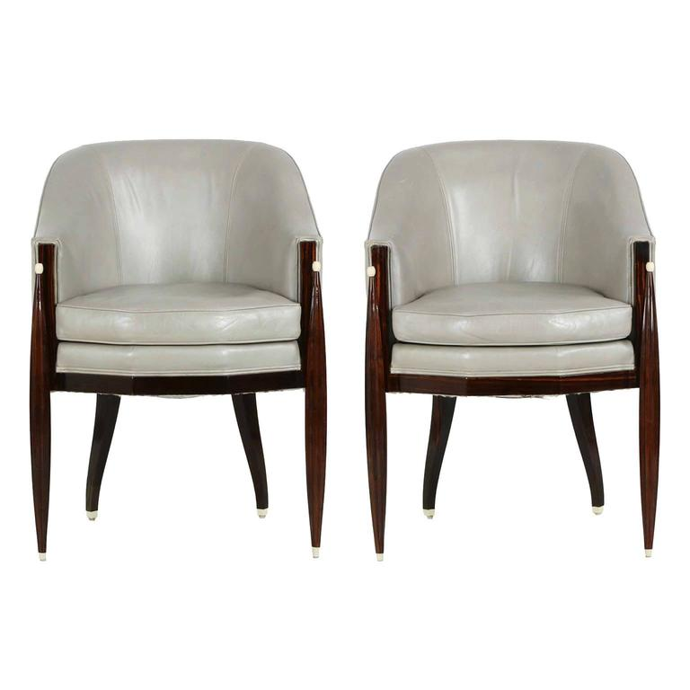Fine Pair of Art Deco Style Macassar and Leather Lounge Chairs, Interior Crafts 1