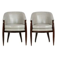 Fine Pair of Art Deco Style Macassar and Leather Lounge Chairs, Interior Crafts