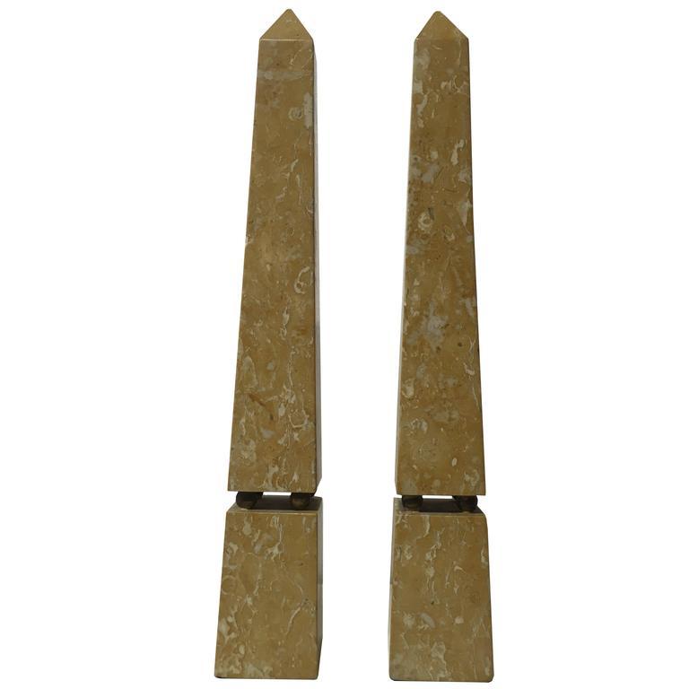 Pair of Sienna Marble Obelisks