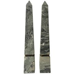 "Pair of Green Striated Marble Obelisks 16"" high"