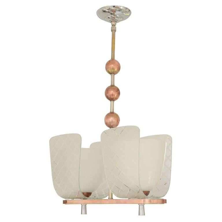 Murano Two-Light Chandelier with Copper Accents & Conical Frosted Glass Globes