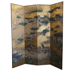 Handpainted Screen by Gracie - Gold Leaf, Peonies and Peacocks