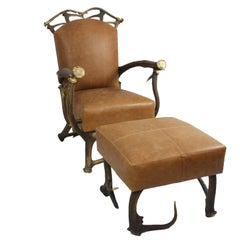 Brown Leather and Red Stag Antler Chair with Matching Ottoman