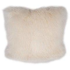 New Custom Handmade Virgin Mongolian Lamb Pillow in a Rich Oyster Shell Hue