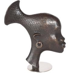 Mid-Century Patinated Bronze of African Woman by Hagenauer