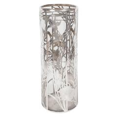 Art Deco Glass Vase with Sterling Overlay in Geometric and Floral Detailing
