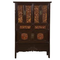 Antique Chinese Scholar's Cabinet, Original Carved Lacquer and Gilt, circa 1875