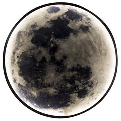 Zeitgenössische Mond-Wandleuchte aus geschwärztem Stahl und Glas