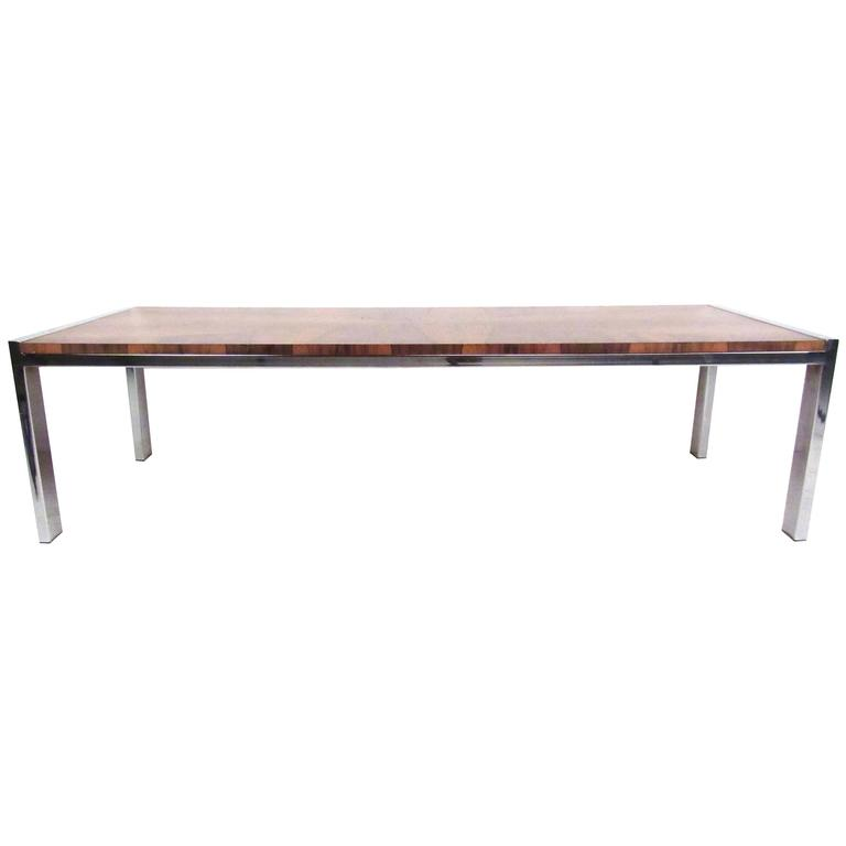 Mid Century Modern Chrome And Rosewood Coffee Table For Sale At 1stdibs