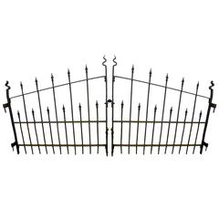 Pair of French Art Deco Wrought Iron Gates For Sale at 1stdibs
