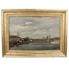 Oil on Canvas Painting of a Harbour and Dock Marine Scene by Seymour Remenick