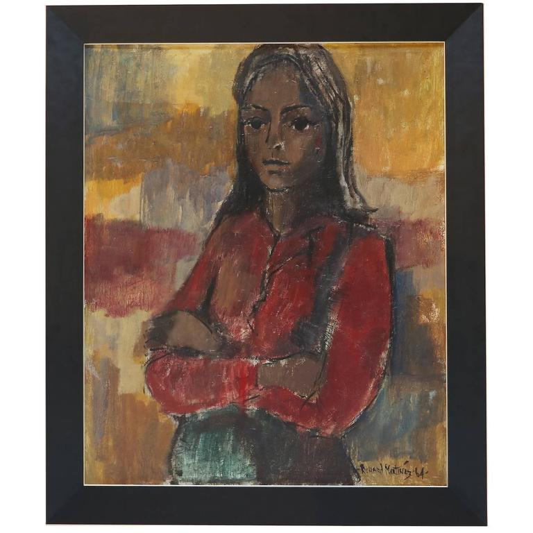 1960s Painting of a Woman by Richard Martinez For Sale