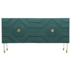Naples Mid-Century Credenza in Hunter Green Lacquer w/ Brass & Lucite Accents