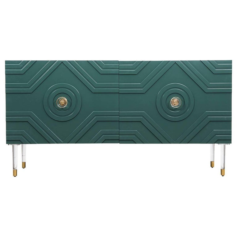 Naples Mid-Century Credenza in Hunter Green Lacquer w/ Brass & Lucite Accents For Sale