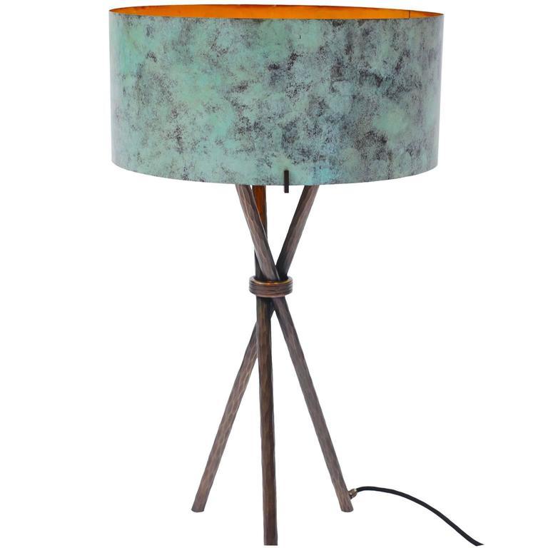 Green Table Lamp in Bronze by Atelier Stefan Leo