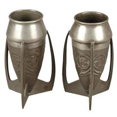 Archibald Knox Liberty & Co English Pewter 0226 A Pair of Embossed Pewter Vases