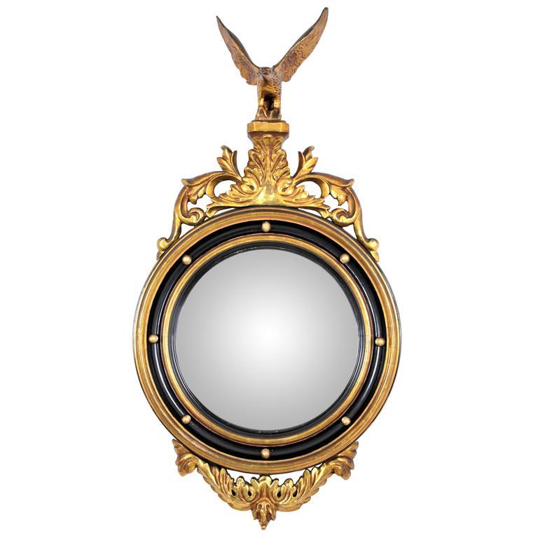 English 1930s Eagle Regency Style Giltwood & Black Convex Glass Bullseye Mirror