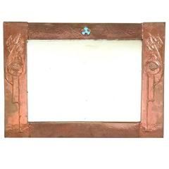 Arts and Crafts Hammered Copper Wall Mirror, by the Glasgow School
