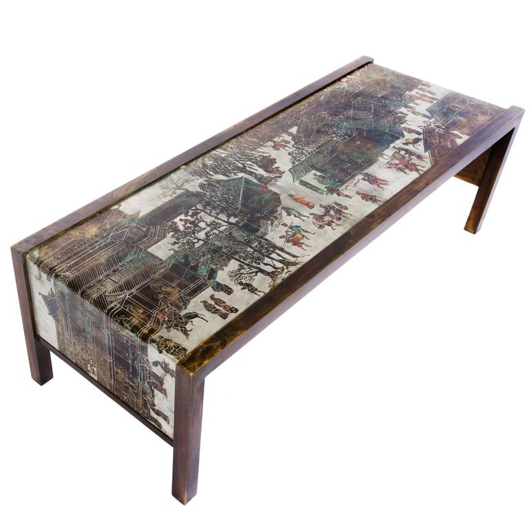 1960s Philip And Kelvin Laverne Etched Bronze Waterfall Coffee Table For Sale At 1stdibs