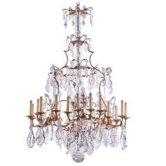 Spectacular French Louis XV Style Bronze and Crystal Chandelier, circa 1860