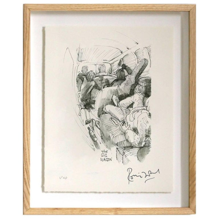 """Gig Wagon"" Signed Limited Edition Framed Print by Ronnie Wood For Sale"
