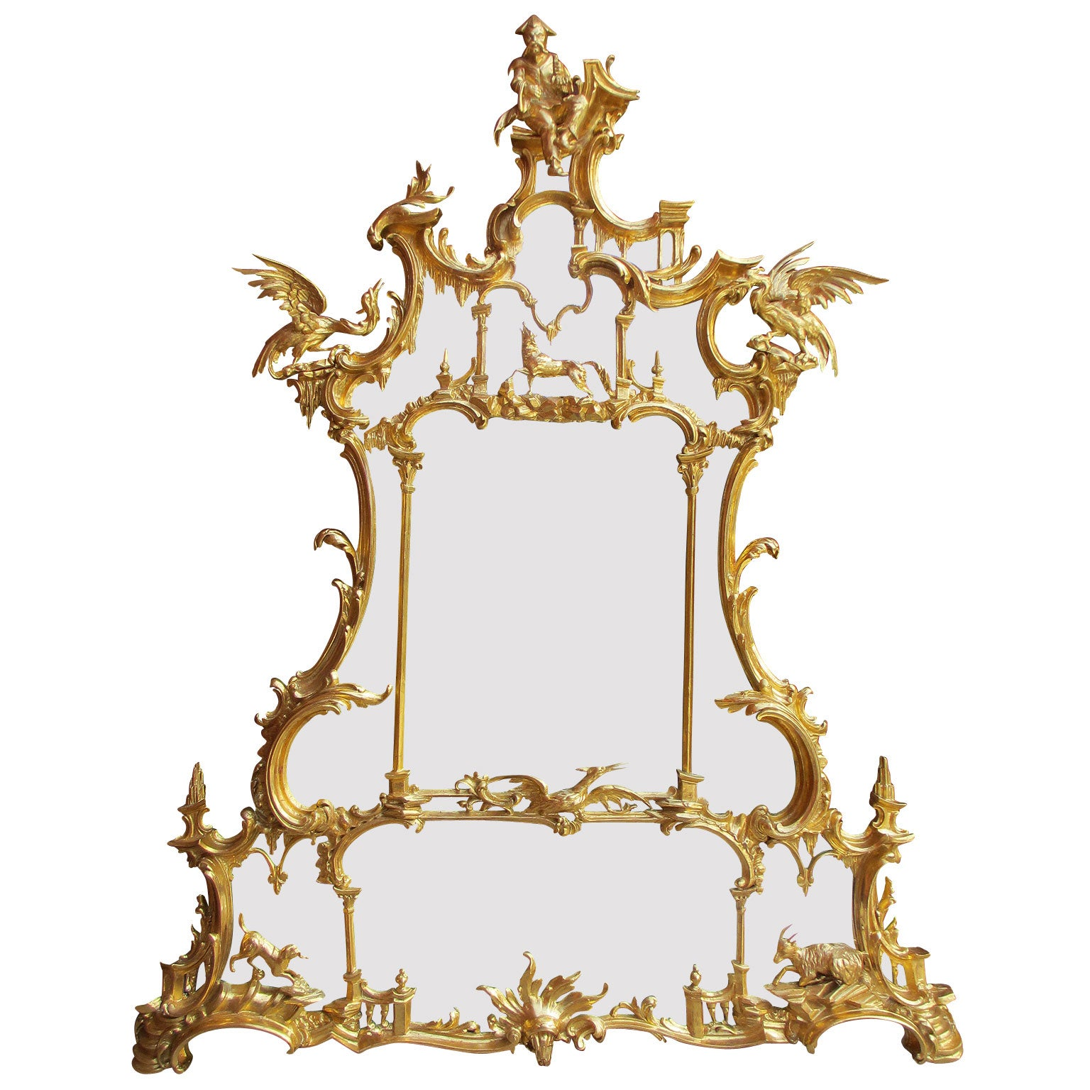Fine 19th Century Chippendale Style Gilt-Wood Carved Mirror after Thomas Johnson