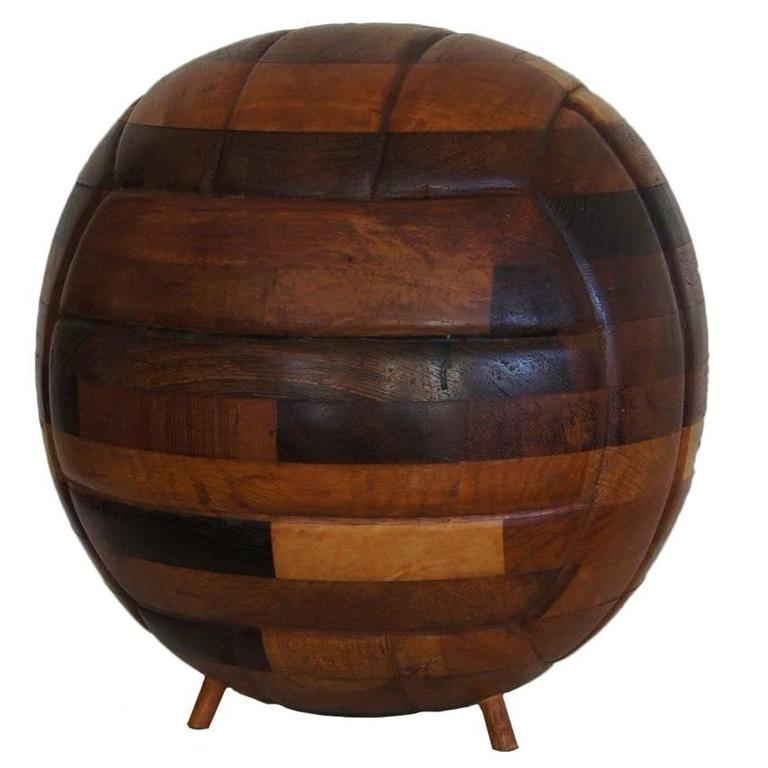 Unique Vintage 1960s Soccer Ball Football Made of Many Woodtypes