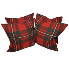 Pair of Plaid Wool Blanket Pillows