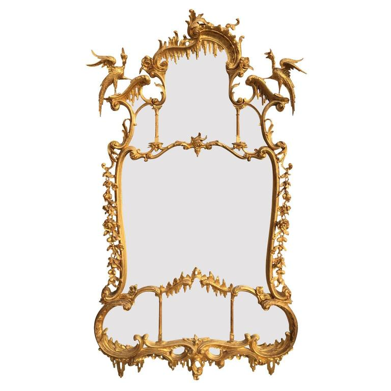 Fine 19th Century Chippendale Style Gilt Wood Carved Mirror after Thomas Johnson For Sale