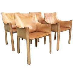 "Set of Four ""CAB"" Leather Chairs by Antonio Bellini for Cassina"