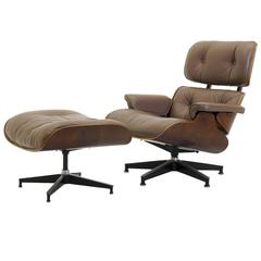 Special order, original Khaki Leather & Rosewood Eames Lounge Chair & Ottoman