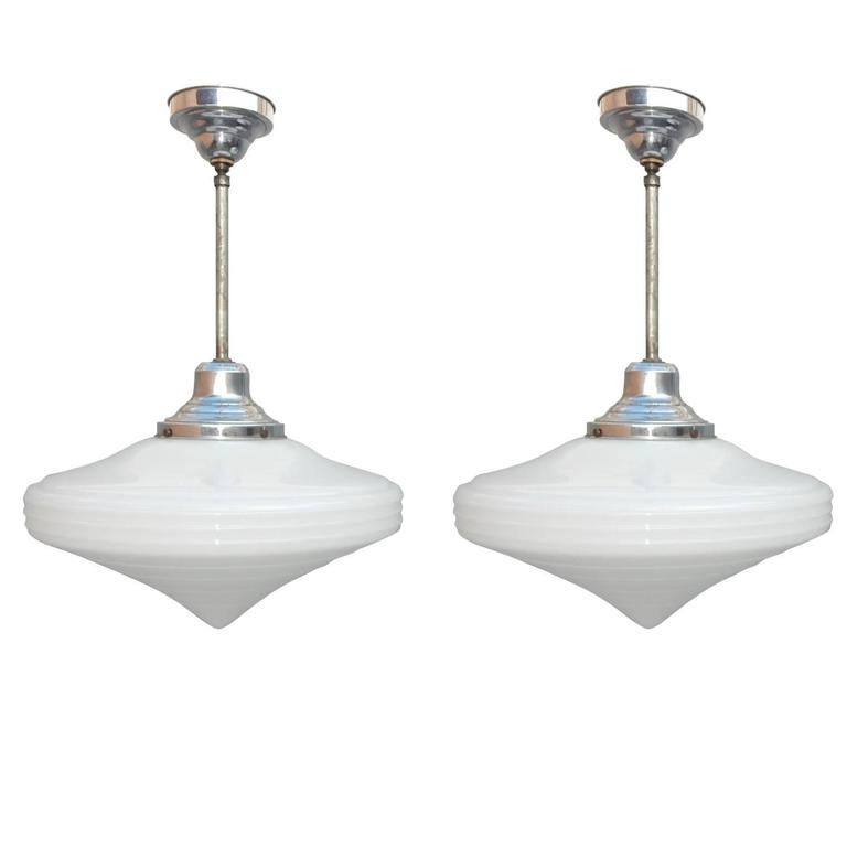 Pair of 1930s Art Deco Milk Glass Diamond Lamp Pendants