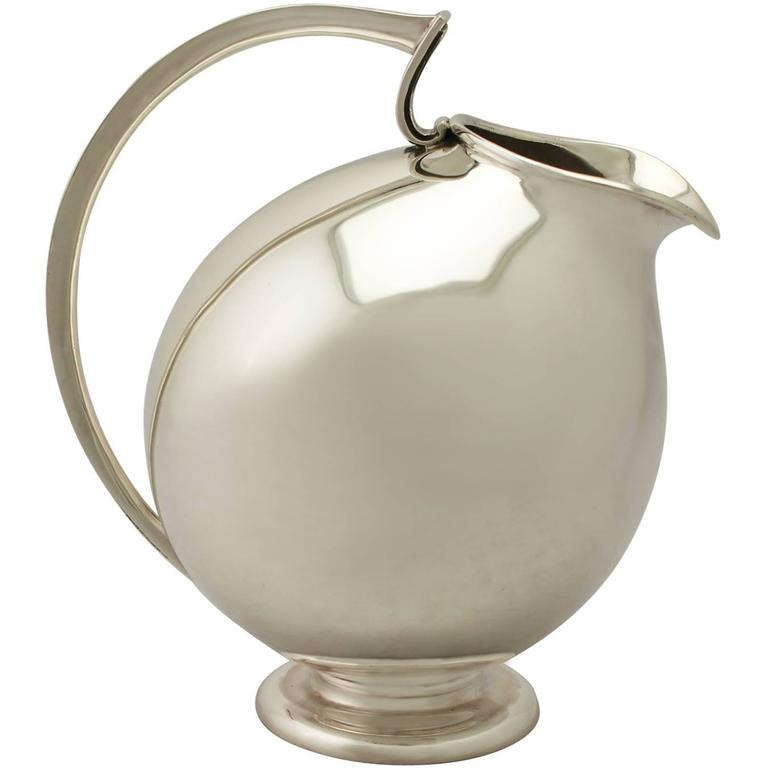 Vintage Design Style, Continental Sterling Silver Water Jug For Sale