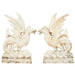 Pair of Iron Bas-Relief Griffins, circa 1900