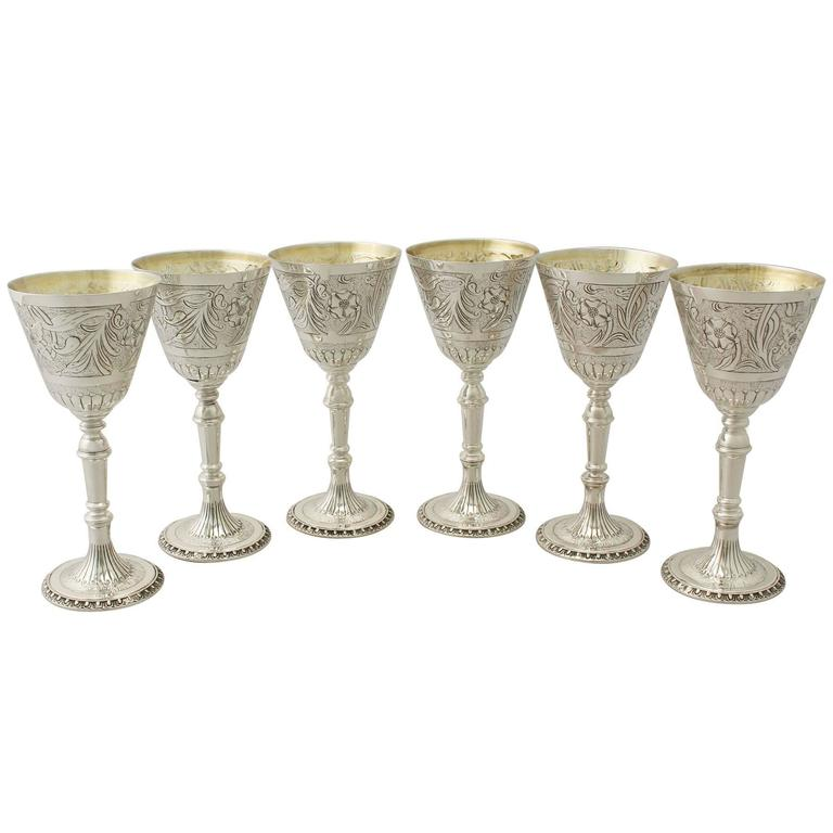 1970s Elizabeth II Sterling Silver Goblets Set of Six by Mappin and Webb
